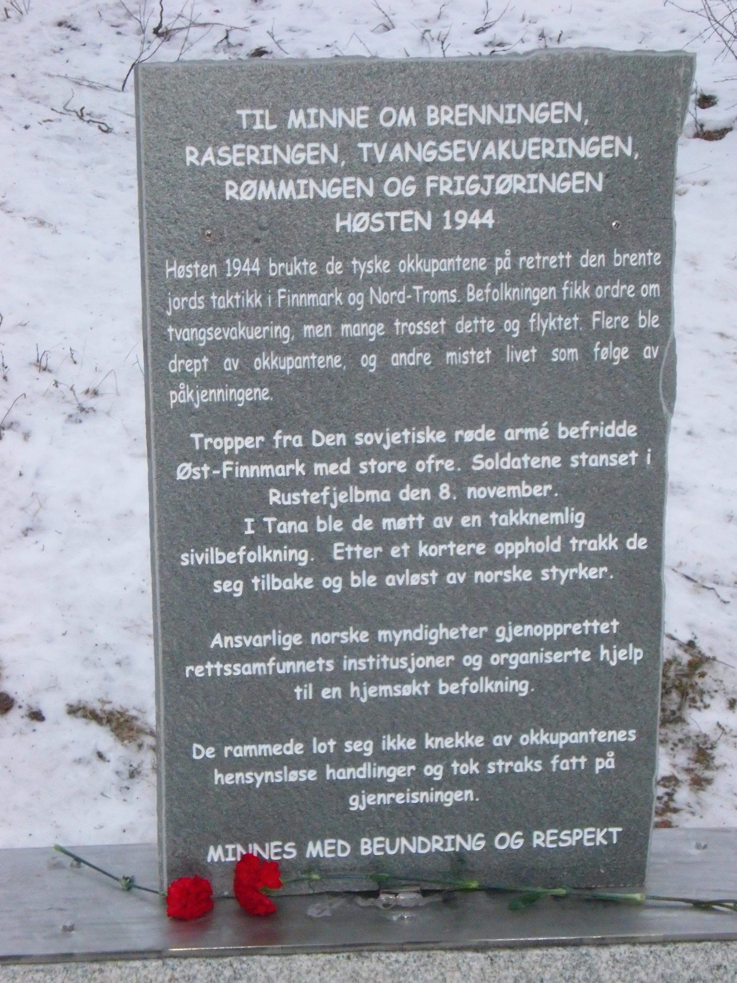 Minneteksten på norsk.